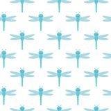 Vector pattern with many light blue dragonflies on white background. stock illustration