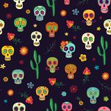 Vector seamless pattern with sugar skulls on a dark background. Vector pattern Mexican sugar skulls on a dark background. Skulls, cacti and flowers, colorful Stock Image
