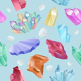 Vector pattern minerals, crystals, gems, diamond. Vector pattern of colored minerals, crystals, gems and diamonds. Magic crystals of different forms on blue Stock Photos