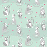 Vector pattern with monkeys and hearts. Vector illustration with monkeys in different stance. Grey monkeys and pink hearts pattern Stock Photo