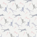 Vector pattern with monkeys and hearts. Vector illustration with monkeys in different stance. Grey monkeys and red hearts pattern Royalty Free Stock Image