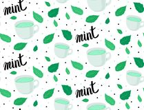 Vector Pattern. Mugs with mint tea, mint leaves and handwritten inscription on white background. Green and black color. Lettering.  Stock Illustration