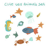 The vector pattern with ocean stuff. For ui, games and web sites Royalty Free Stock Photography