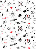 Vector pattern with old school tattoo elements. Black and white. Stock Images