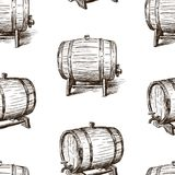 Seamless background of the sketches of wine casks Stock Images