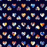 Vector pattern, optical illusion hearts background. Spread paint Royalty Free Stock Images