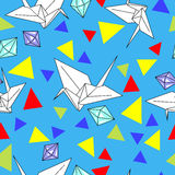 Vector pattern with origami cranes and diamonds Stock Photography