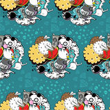Vector pattern with panda and cookie royalty free illustration