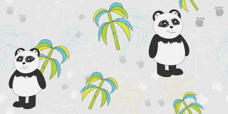 Vector pattern with pandas and bamboo. Print for textiles. Scrapbook paper, wrapping paper. stock illustration