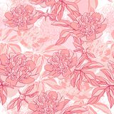 Vector pattern with peony and foliage Royalty Free Stock Photo