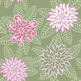 Vector Pattern of Pink Flowers Stock Photography
