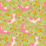 Vector pattern with pink horses Stock Photos