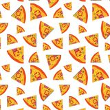 Vector pattern with pizza slices and vegetables background. Art illustration design stock illustration