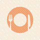 Vector pattern plates and cutlery. Vector illustration sign with fork and knife Royalty Free Stock Photography