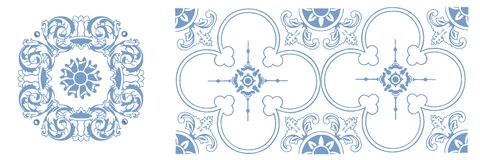 Vector pattern of portuguese ceramic. Vector pattern of traditional portuguese ceramic tiles stock illustration