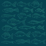 Vector pattern with print of fish. On turquoise background stock illustration