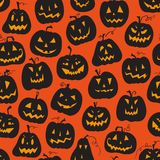 Vector pattern with pumpkins. Halloween holiday, seamless background Stock Photos