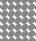 Vector pattern, repeating circles in wavy line, modern stylish monochrome. Royalty Free Stock Images