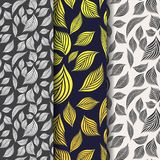 Vector pattern, repeating linear leaves or leaf in black and white with sample blue color background. Royalty Free Stock Images