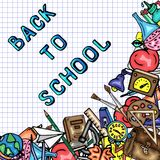 Vector pattern retro drawing of different school objects. Theme back to school. Can be used for the background of a web. Different school objects. Bright stock illustration