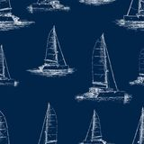 Seamless background of the yachts sketches. Vector pattern of the sailboats on a trip Stock Images