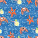 Vector pattern with sea life Stock Images