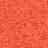 Vector pattern seamless of line firefighting equipment  illustration Stock Images