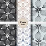 Vector pattern set of abstract linear flower circling on hexagon shape in sizes and colors. Vector clean design for wallpaper, printing, fabric, easily edited Royalty Free Stock Photography