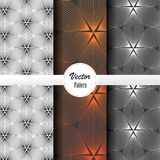 Vector pattern set of abstract linear flower circling on hexagon shape in sizes and colors. Vector clean design for wallpaper, printing, fabric, easily edited Stock Photography