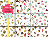 9 vector pattern set with doodle sweets. 9 vector pattern set with doodle sweets - donuts, macaroons, waffles, ice creams, croissants Stock Photography