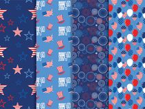 Vector pattern set. National colors of the United States. American flag,stars and stripes. Use for celebration of. Independence day, party decoration,surface Royalty Free Stock Images