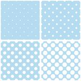 Vector pattern set with tile white polka dots on blue background Royalty Free Stock Image