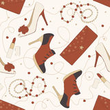 Vector Pattern of Shoes and Accessories Stock Image