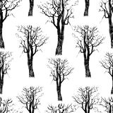 Seamless background of the drawn trees Royalty Free Stock Images