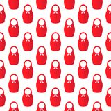 Vector pattern of simple red silhouettes Russian doll Stock Image