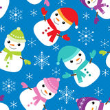 Vector pattern with snowmen Stock Photo