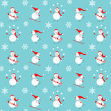 Vector pattern with snowmen. Royalty Free Stock Photos