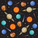 Vector pattern solar system with planets. Seamless pattern with solar system planets Royalty Free Stock Photo