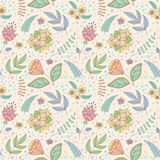 Vector pattern with spring doodle flowers and leaves. Stock Photo
