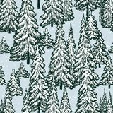 Fir forest in winter. Vector pattern of the spruce forest in december Royalty Free Stock Photo