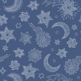 Vector pattern star and moon Royalty Free Stock Photo