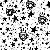 Vector pattern with stars. Seamless hand drawn pattern. Vector background with cup and stars. Space and astronomy theme. Design for prints, shirts and posters Stock Photos