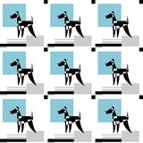 Stylized Airedale Terrier on graphic background. Seamless vector pattern. stock illustration