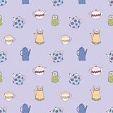 Vector pattern with stylized colorful teapots. Seamless background for design Stock Photos