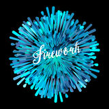 Vector pattern with stylized fireworks and party invitation. Purple and blue spray fire on a black background Stock Photos