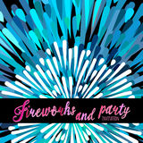 Vector pattern with stylized fireworks and party invitation Royalty Free Stock Photography
