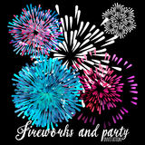 Vector pattern with stylized fireworks and party invitation Royalty Free Stock Images