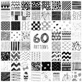 60 Vector Pattern Swatches. Sixty Abstract Hand Drawn Geometric Black Seamless Pattern Swatches with Transparent Background Stock Photography