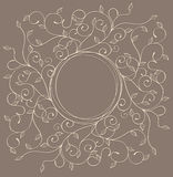 Vector pattern with swirls and leaves with a round frame Stock Images