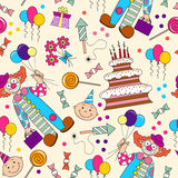 Vector pattern with symbols of the birthday Royalty Free Stock Photos